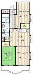 東京都多摩市馬引沢2丁目の賃貸マンションの間取り