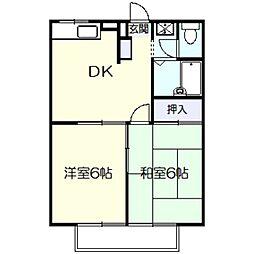 神奈川県川崎市多摩区布田の賃貸アパートの間取り