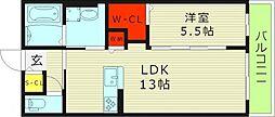 モアエクセレンス 3階1LDKの間取り