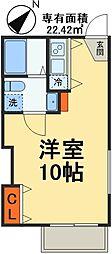 JR総武線 稲毛駅 徒歩8分の賃貸アパート 2階1Kの間取り