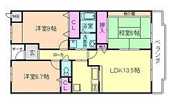 大阪府豊中市少路2丁目の賃貸マンションの間取り