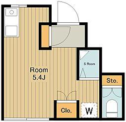 西武拝島線 萩山駅 徒歩3分の賃貸アパート 1階ワンルームの間取り