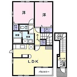 愛知県岡崎市向山町の賃貸アパートの間取り
