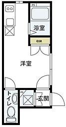 HALEIE羽田 1階ワンルームの間取り
