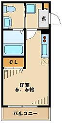 東急東横線 日吉駅 徒歩11分の賃貸アパート 1階ワンルームの間取り