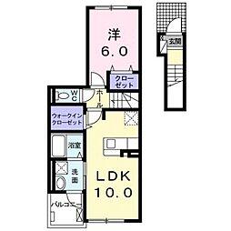 小田急小田原線 鶴川駅 バス13分 金井クラブ下車 徒歩2分の賃貸アパート 2階1LDKの間取り