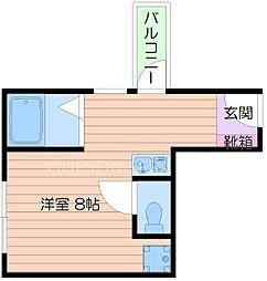 阪急千里線 関大前駅 徒歩1分の賃貸マンション 3階1Kの間取り
