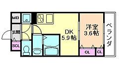サムティ福島ルフレ 5階1DKの間取り