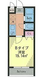 ドルフィン西新宿 3階1Kの間取り