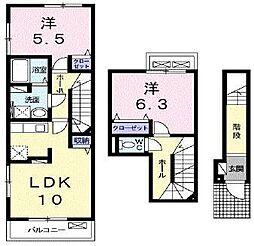 東武東上線 新河岸駅 徒歩15分の賃貸アパート 2階2LDKの間取り