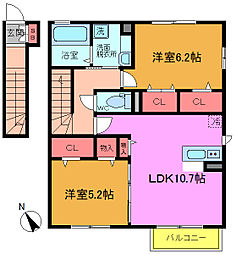 千葉県市川市須和田1丁目の賃貸アパートの間取り