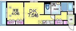 東武伊勢崎線 鐘ヶ淵駅 徒歩6分の賃貸マンション 1階1DKの間取り