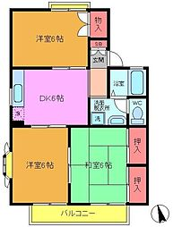 千葉県船橋市夏見台3丁目の賃貸アパートの間取り