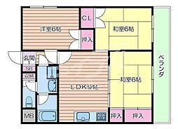 JR東海道・山陽本線 吹田駅 徒歩9分の賃貸マンション 3階3DKの間取り