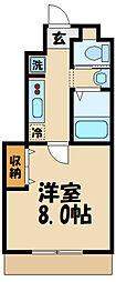 JR中央線 日野駅 徒歩13分の賃貸アパート 1階1Kの間取り