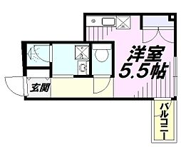 JR武蔵野線 西国分寺駅 徒歩9分の賃貸マンション 1階ワンルームの間取り