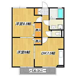 東京都江戸川区篠崎町2丁目の賃貸アパートの間取り