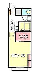 東武東上線 朝霞駅 徒歩15分の賃貸アパート 2階1Kの間取り