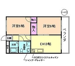 大阪府豊中市桜の町2丁目の賃貸マンションの間取り