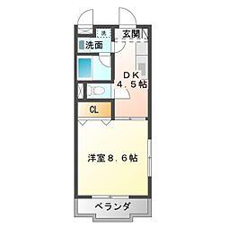 愛知県豊橋市馬見塚町の賃貸マンションの間取り