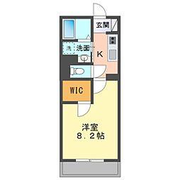 愛知環状鉄道 北岡崎駅 徒歩24分の賃貸アパート 2階1Kの間取り