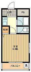 JR五日市線 東秋留駅 徒歩1分の賃貸マンション 3階1Kの間取り