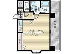 パレス東洋豊里2号館 5階ワンルームの間取り