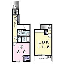 パーク ウエスト 1階1LDKの間取り