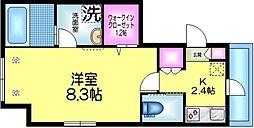 東武伊勢崎線 曳舟駅 徒歩5分の賃貸マンション 3階1Kの間取り