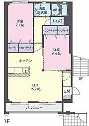 滋賀県栗東市中沢3丁目の賃貸アパートの間取り
