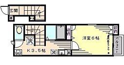 根津グリーンマンション 2階1Kの間取り