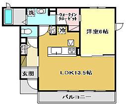 光城ハイツII 1階1LDKの間取り