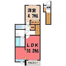 プレジデント桜 2階1LDKの間取り