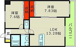 クレール新森 3階2LDKの間取り