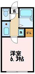 BACE中野島 2階1Kの間取り