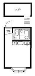東京メトロ南北線 東大前駅 徒歩4分の賃貸アパート 2階ワンルームの間取り