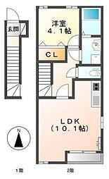 愛知県蒲郡市大塚町上向山の賃貸アパートの間取り