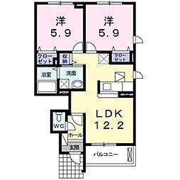 愛知県豊橋市神野新田町字ヨノ割の賃貸アパートの間取り