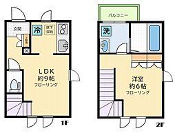 小田急小田原線 下北沢駅 徒歩10分の賃貸アパート 1階1LDKの間取り