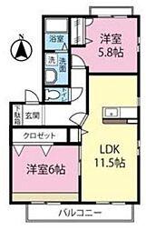 神奈川県川崎市宮前区犬蔵2丁目の賃貸アパートの間取り
