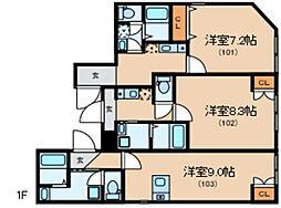 Glanlink Komazawa 1階ワンルームの間取り