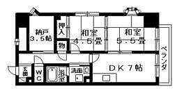 滋賀県栗東市綣3丁目の賃貸マンションの間取り