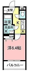 サクラコーポレートハウス 2階1Kの間取り