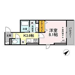 仮)D-room大塚帝京 3階1Kの間取り