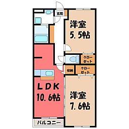 栃木県宇都宮市下戸祭1丁目の賃貸マンションの間取り