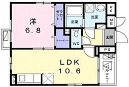 リズルーム 2階1LDKの間取り