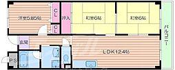 JR東海道・山陽本線 岸辺駅 徒歩14分の賃貸マンション 2階3LDKの間取り