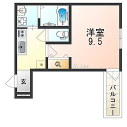 JR阪和線 北信太駅 徒歩2分の賃貸アパート 3階1Kの間取り