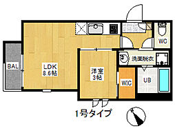 REGALEST 箱崎宮前[2階]の間取り