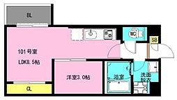 JR京葉線 蘇我駅 徒歩12分の賃貸アパート 2階1LDKの間取り